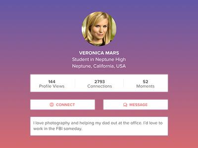 Student Social Profile bio message connect profile gradient ui interface social