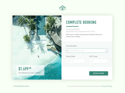 Credit Card Payment sketch app resort hotel booking web payment credit card ui design dailyui002 dailyui