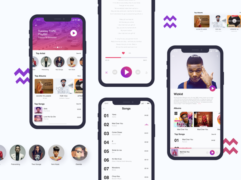 Traffic Music App fixer design ux ui wizkid lagos iphonex ios music adobexd app artist