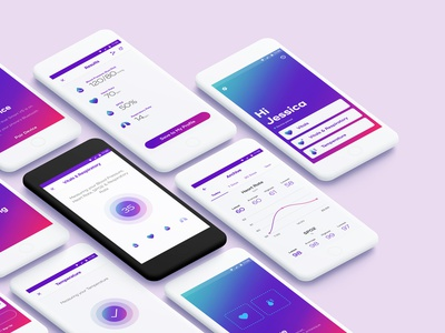 Vitals monitoring app gradient heart rate tracker interface icon design graphics medical consumer health healthcare monitor vitals health app monitoring design ui ux