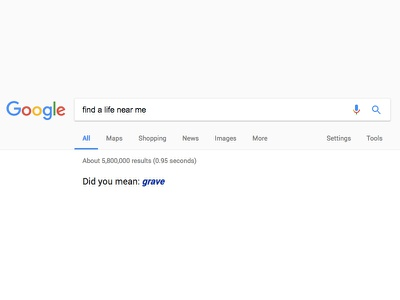 Existential search results existential crisis flat material material design minimal search google