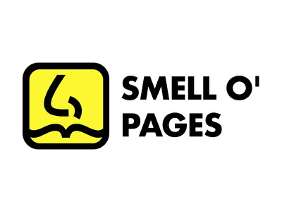 Smell o' Pages pages smell illustrator brand icon nose pun black yellow logo identity ai
