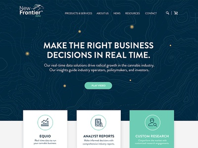 New Frontier web blue green uiux landing page design website cannabis visualization data new frontier