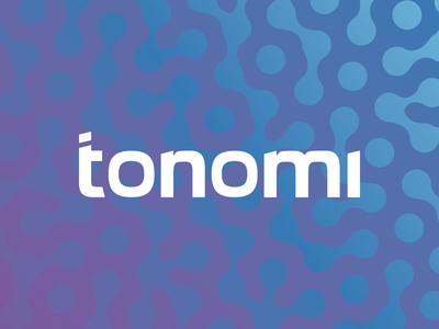 Tonomi gradient blue purple typography hexagonal logo design tonomi