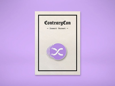ContraryCon Enamel Pin purple distort glitch typography enamel design pin logo enamel pin