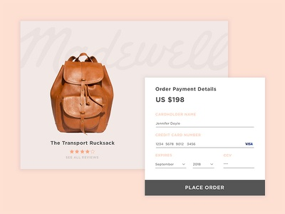 Daily UI 002 sketch interaction checkout apparel bag fashion luxury modern design credit card daily ui