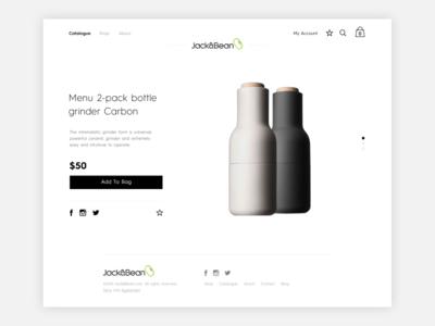 Jack & Bean product page web design ux icon design ui design graphic design website art direction store shop ecommerce