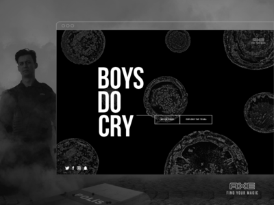 Axe - Boys Do Cry black and white experience interface ux design ui design minimal gif flat design clean design microsite web website