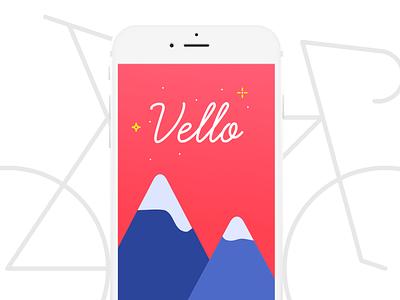 Vello - Splash Screen cycle user interface design ui mountains branding blue red bicycle vello