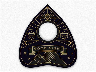 Ouija Planchette gold black witch vintage typography planchette ouija occult