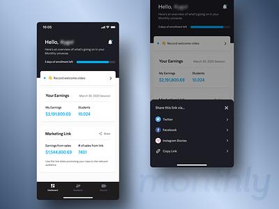 👀  Native App - Dashboard share card dashboad ui mobile