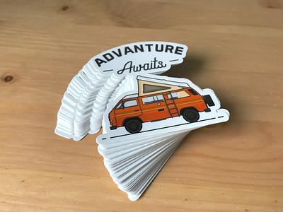 Advanture Awaits Stickers camper vw vanlife vanagon stickers