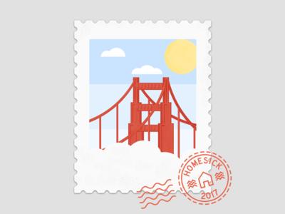 San Francisco Stamp stamp sun bridge gate golden sf francisco san homesick