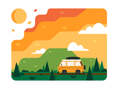 Wanderlusting nature sky sunset colors illustration wanderlust travel roadtrip van vanagon