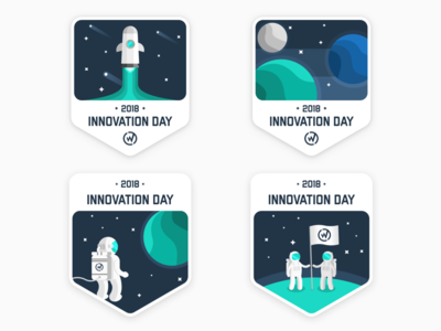 WillowTree Innovation Day Stickers innovation illustration stickers planet astronaut rocket space