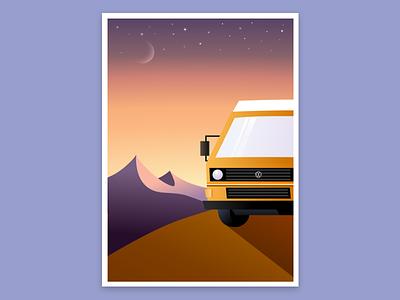 Van in the sunset illustration mountains van vanagon sunset vanlife moon stars roadtrip