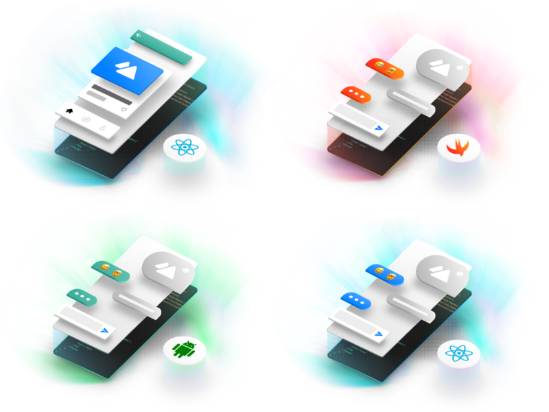 Components Illustration sdk isometric ui stream feeds chat illustration components