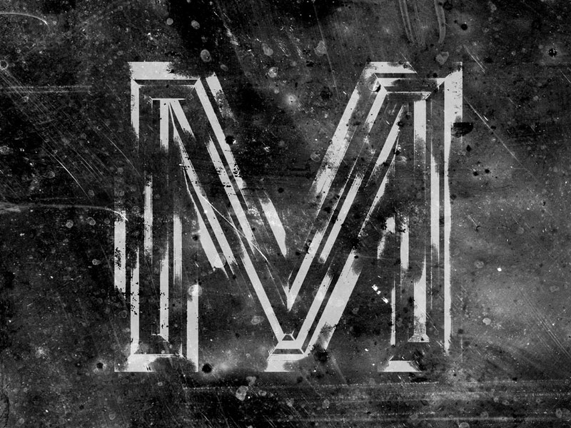 M'S grimy letter beveled typography type treatment exploration texture