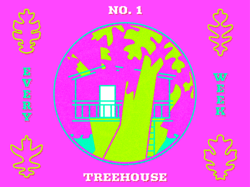 Every Week #1 –Treehouse sewer cover woodblock japanese color neon illustration