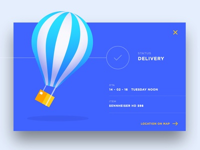 Delivery Status Ui modern popup flat vector delivery malaysia design web illustration app ux ui