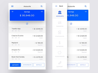 Banking App Account Ui modern clean mobile web bank malaysia material design app ux ui