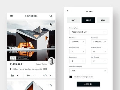 Real Estate App Ui - Home & Filter ui ux app website web design malaysia minimalist clean mobile responsive home