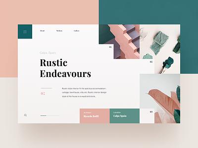 Interior Design Website homepage minimal colours pastel page landing header website web ux ui