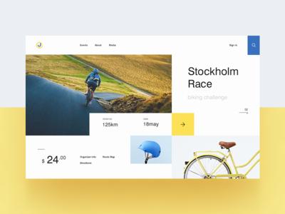 Biking Event Website homepage minimal colours home page landing header website web ux ui