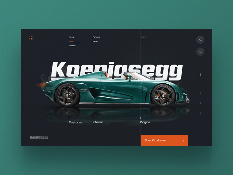 Koenigsegg Supercar Website cars minimal colours home page landing header website web ux ui