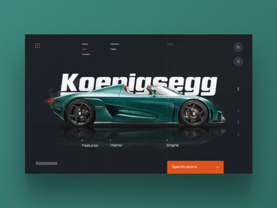 Koenigsegg Supercar Website cars minimal colours home page landing header website web ux ui