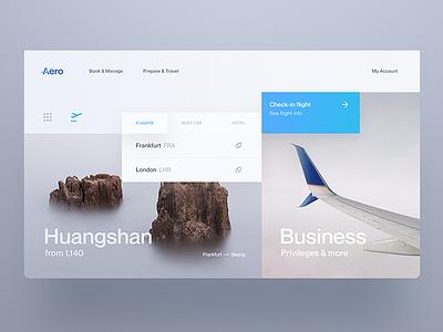 Aero - Flight Booking clean app minimal colours home page landing airline website web ux ui