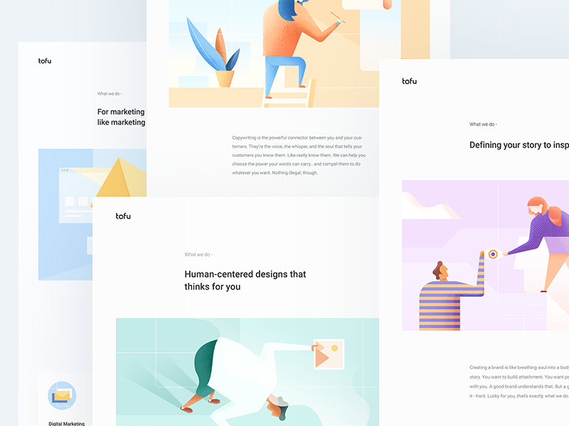Tofu Design - Creative Studio colours portfolio clean illustration home landing website web ux ui