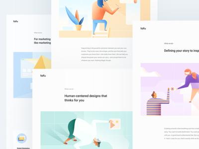 Tofu Design - Creative Studio colours portfolio clean illustration home landing website web ux ui