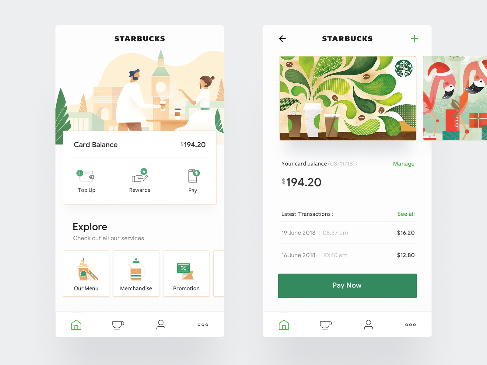 Starbucks - Mobile App UI/UX food starbucks icons interaction landing minimal clean mobile app website web ux ui