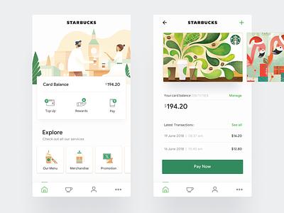 Starbucks - Mobile App UI/UX food starbucks icons interaction landing minimal clean mobile app website web ux ui