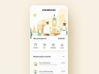 Starbucks UI/UX Dashboard clean design web dashboard page home vector app landing illustration ux ui