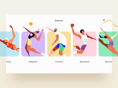 Olympic Sports Website landing home app animation typography design illustration website web ux ui