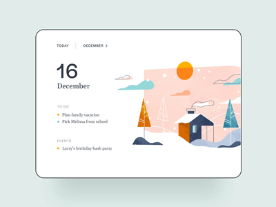 Calendar UI Interaction tablet colours parallax transition interaction home calendar animation typography page illustration web design app ux ui
