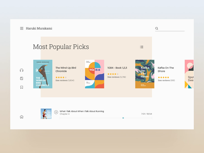 Haruki Murakami - Book Author Website/UI Concept bird cart list slider modern clean transition interaction book logo animation home landing app page design website web ux ui