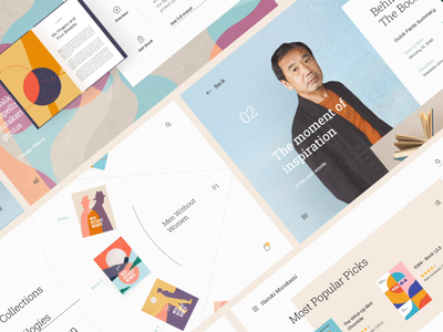 Haruki Murakami - Book Author Website/UI Compilation landing board list slider transition interaction cart book animation page flat vector illustration web design app website ux ui