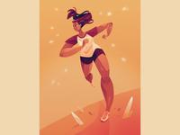 Run texture drawing ipadart procreate art design digital art powerful women color fitness outdoor character girl exercise run