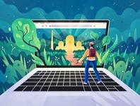 Website adventure art style people color texture ipadart outdoors explore exploration nature procreate internet website laptop technology drawing design