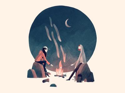 Campfire character t-shirt camping drawing texture color screen printing illustration art