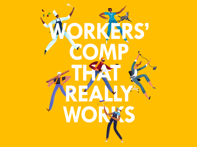 Workers' comp poster ipadart style people drawing branding texture procreate character color art design