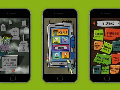 Humans vs. Zombies | Conceptual App 🧟♂️ app design humans vs. zombies hvz zombie vector ui design illustration