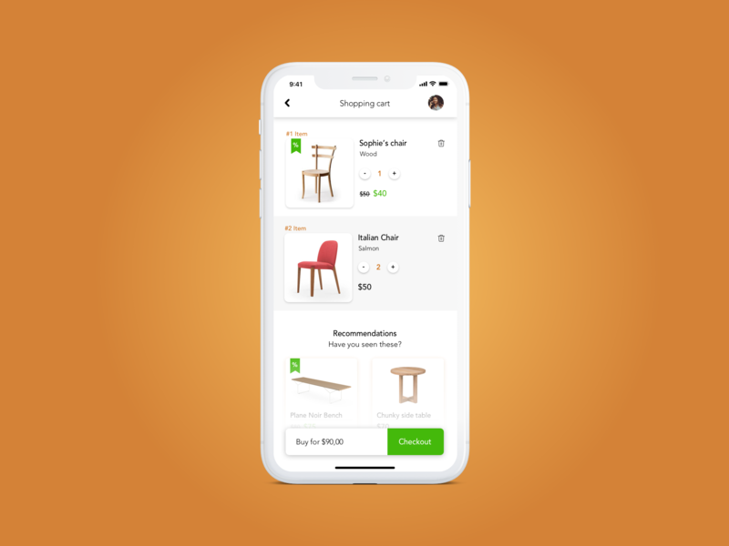 Clean Shopping cart card iphonex sale checkout page checkout items items list cart shopping cart shopping basket shopping app
