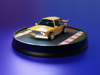 3D Race Car bmw purple yellow procedural cycles blendercycles low poly randoming texturing shader graphic node blender 3d race car