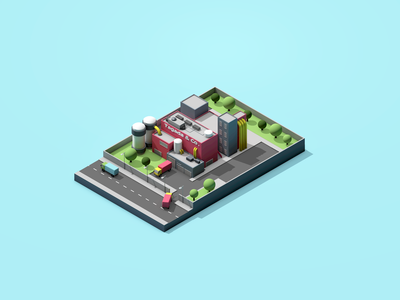 Factory Low Poly co tagada 3dsmax 3d colors poly low isometric truck factory