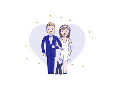 Wedding illustration wedding didji vector lovers bulldog love vectors illustration