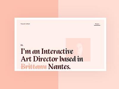 Personal website redesign typography design webdesign vincent aribart personal pink art director website re design redesign